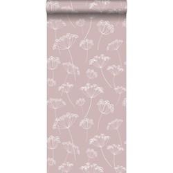 ESTAhome behang schermbloemen oudroze en wit