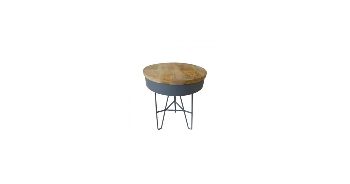 Unknown Iron Table Wood Top/Dark Grey S