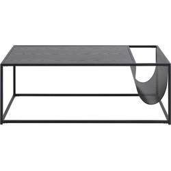 Industriële salontafel met krantenrek - Vic - Hout - L110 x B60 x H40 cm - Zwart