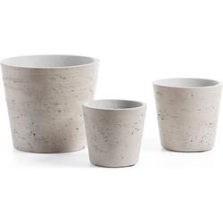 Kave Home - Low set van 3 bloempotten grijs