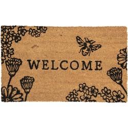 Clayre & Eef - deurmat 75*45*1 cm - bruin - kokos / pvc - rechthoekig - welcome - MC153