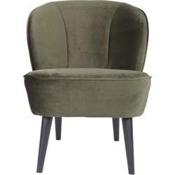 Woood Sara fauteuil fluweel warm groen