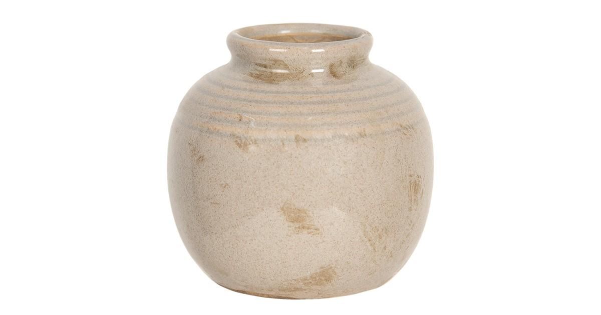 Clayre & Eef Vaas - Ø 8*8 cm - beige - keramiek - rond -  - 6CE1217