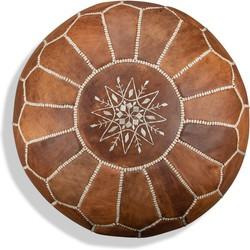 Leren Poef - Cognac bruin - Handgemaakt en stijlvol - Gevuld geleverd - Poufs&Pillows