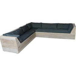 Wood4you - Loungeset 6 steigerhout 210x200 cm - L-vorm incl plofkussens