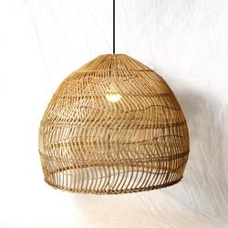 Groenovatie Rotan / Rieten Hanglamp, Handgemaakt, Naturel, ⌀55 cm
