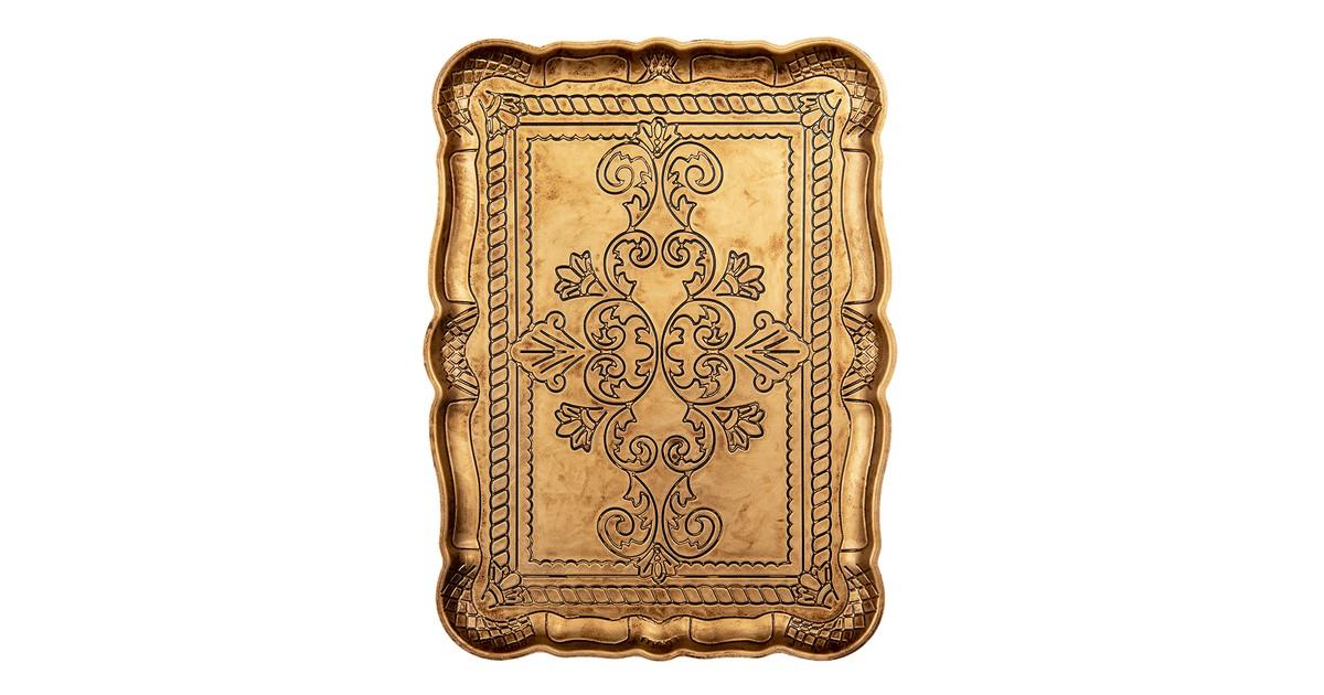 Clayre & Eef Decoratief Dienblad 31*23*2 cm Goudkleurig Melamine Rechthoek Serveerschaal