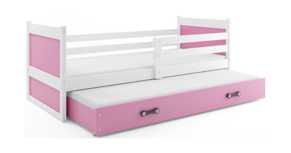 Bed met Onderbed Wit Roze 90 x 200 - `Kids Life Pink'   Perfecthomeshop