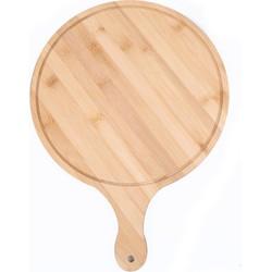 Decopatent® Bamboe Pizzaschep voor Pizza's Ø25 Cm - Pizzaplank met handvat - Pizzaborden - Oven - Bbq - Serveerplank