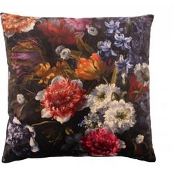 Sierkussen Bibi Flowers in de kleur Black - 60x60cm