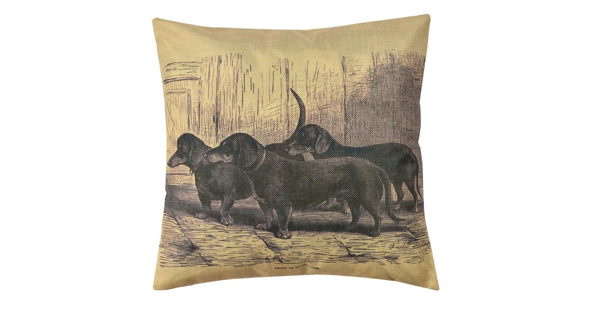Clayre & Eef Kussenhoes KT021.242 43*43 cm Geel, Grij, Zwart Polyester Vierkant Hond Sierkussenhoes