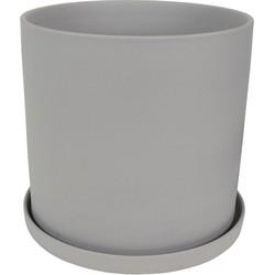 Bloempot met schotel grijs 16 cm