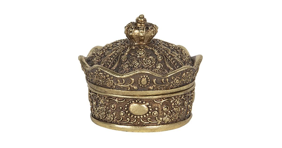 Melady Sieradendoos 9*9*7 cm Goudkleurig Kunststof Juwelendoos Sieradenbox