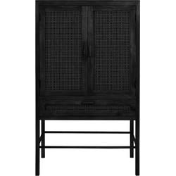 Wandkast Nipas - Zwart hout - 90 x 45 x 160 cm