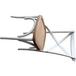Stoel Cross - wit blank - teak/mahonie