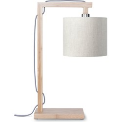 Tafellamp Himalaya bamboe, linnen licht