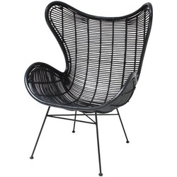 HKliving rotan stoel egg chair zwart