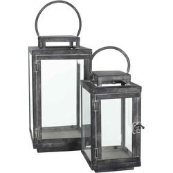 Mica Decorations set van twee lantaarns jordan zwart