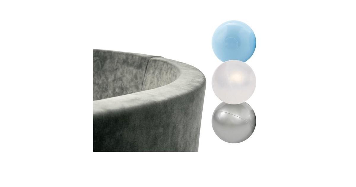 Misioo Ballenbak Rond 90x30 | Velvet Grey incl. 150 ballen (Pearl/Silver/Light Blue)