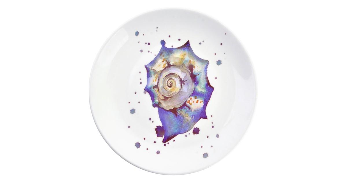 Decoratie bord   Ø 20*2 cm   Blauw   Keramiek   Rond   Slakkenhuis   Clayre & Eef   6CE0960