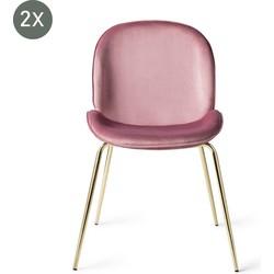 Austin Roze met gouden poten eetkamerstoel - Set van 2