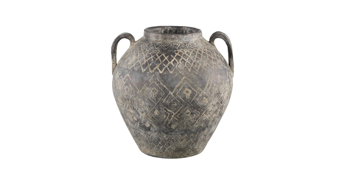 PTMD Tunis grijze kruik pot keramiek met oren maat in cm: 36 x 36 x 37 - Grijs