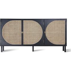dressoir webbing retro zwart 81 x 160 x 40