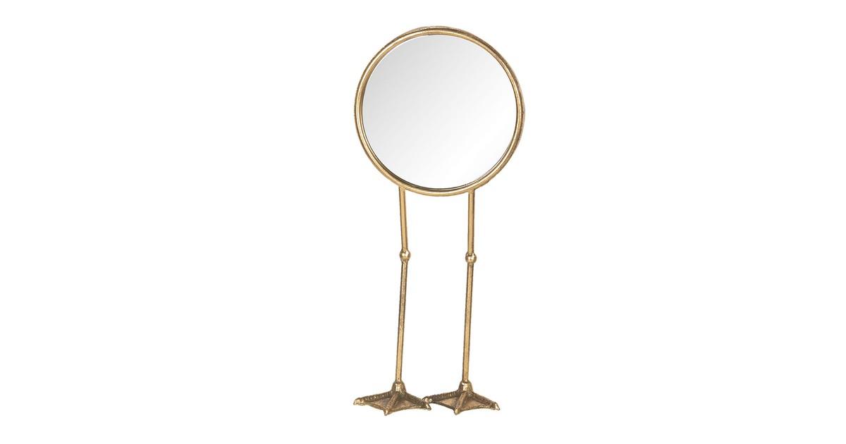 Clayre & Eef Staande Spiegel 62S160 20*10*47 cm Goudkleurig Metaal / glas Rond Poten Tafel Spiegel Decoratie Spiegel online kopen