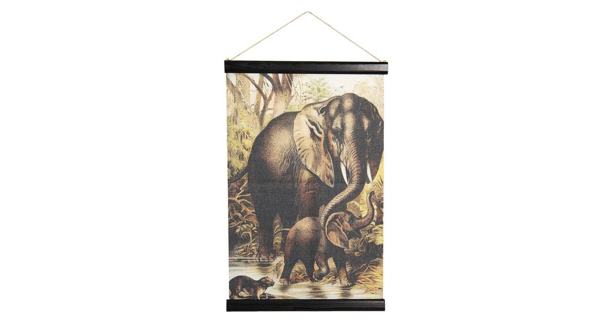 Wandkaart dieren | 40*2*60 cm | Multi | Linnen | Rechthoekig | Olifanten | Clayre & Eef | 6WK0033