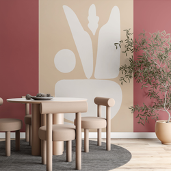 Behang - Abstracte vormen in wit en beige - 185x260 - House of Fetch