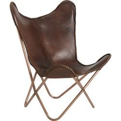 Nordal Denmark fauteuil leer vlinder stoel bruin/koper