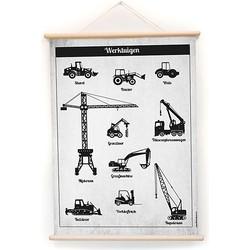 Little & Pure Praatplaat Poster 50 x 70 cm - Werktuigen