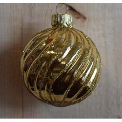 Kerstbal lijn goud 6cm
