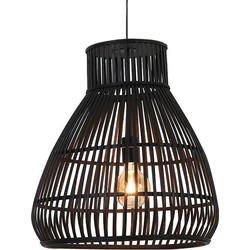 Timaka Hanglamp 1 lichts 37x43 cm rotan zwart - Bohemian - 2 jaar garantie