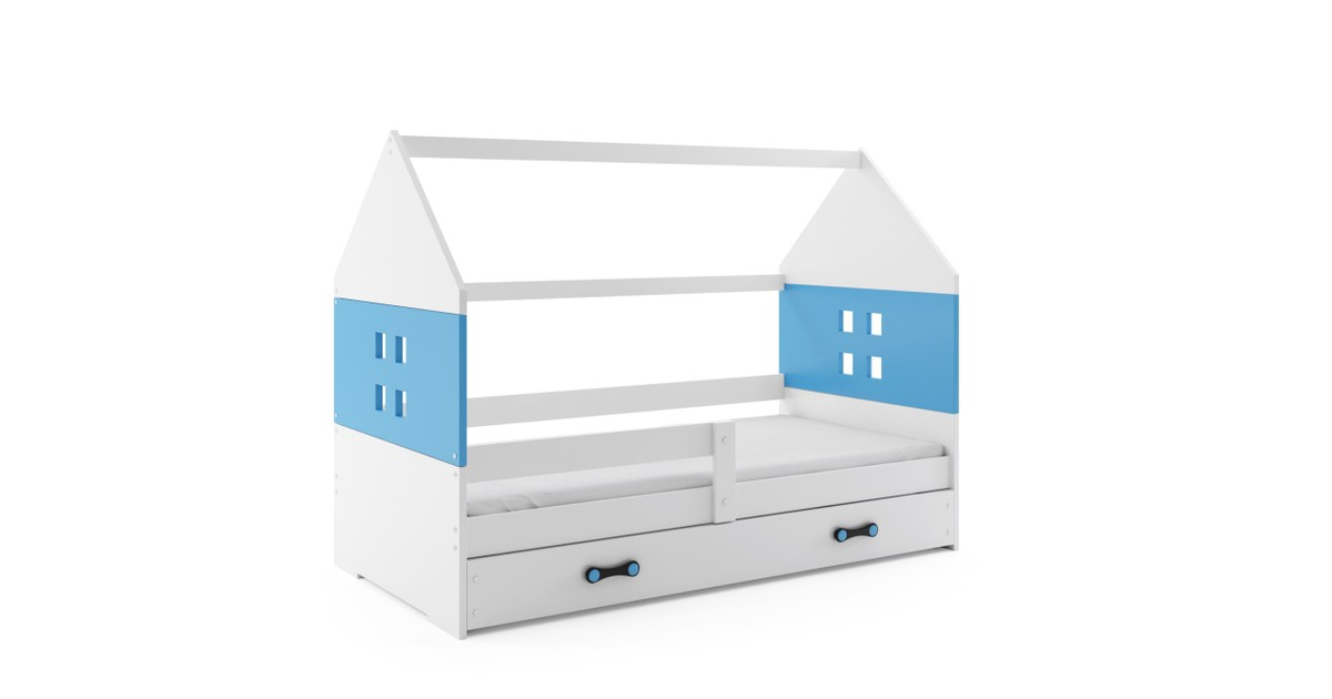 Kinderbed Huisje Wit & Blauw 80x160 cm   Perfecthomeshop