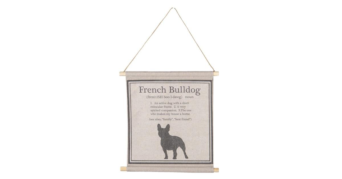 Wandkaart met hond | 34*35*2 cm | Zwart | Katoen | Vierkant | Hond | Clayre & Eef | 6WK0022