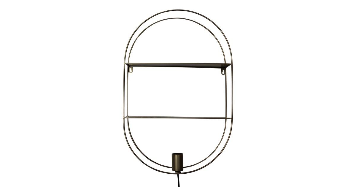 Budgethome Wandkastje met lamp-goud-60x40-Housevitamin