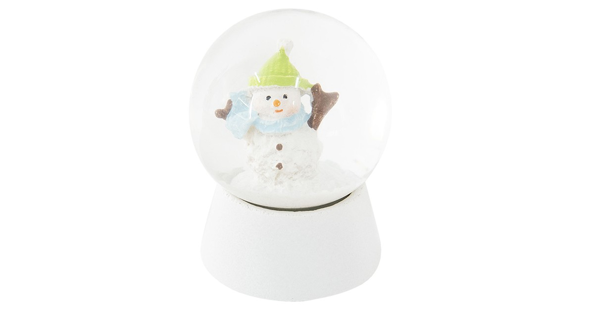 Clayre & Eef Sneeuwbol Sneeuwpop Ø 5*6 cm Wit Polyresin / Glas Rond