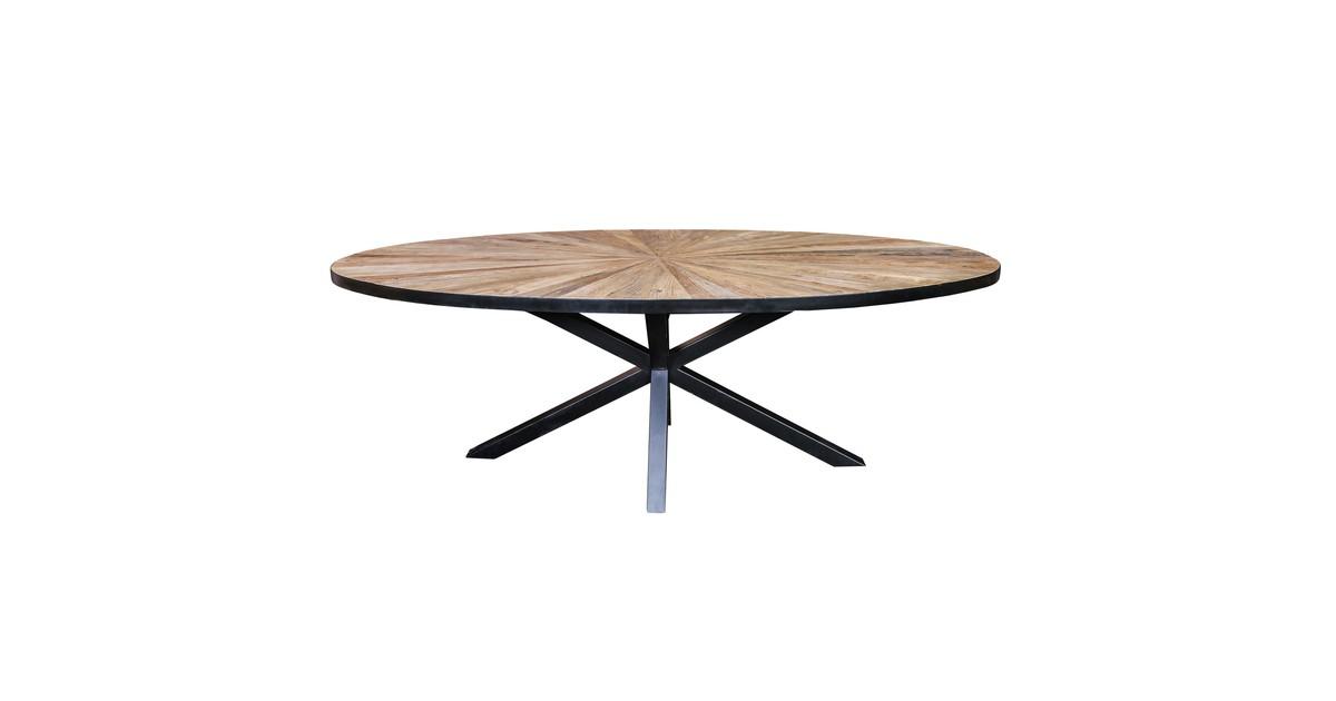 Eettafel cleme - zwart/iepenhout - ovaal - 220x110x77cm - PTMD