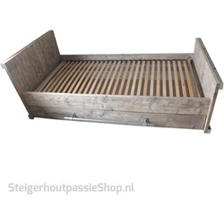 Steigerhouten Bed Siem incl. schuiflade