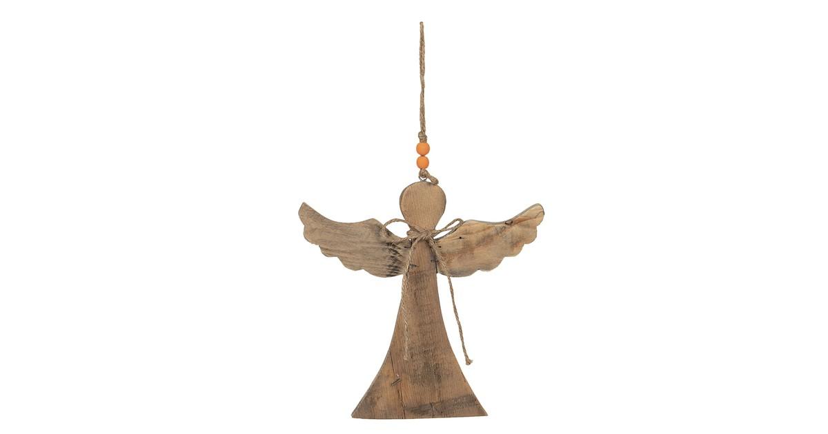 Clayre & Eef Decoratie Engel 23*2*25 cm Bruin Hout Decoratief Figuur Decoratieve Accessoires
