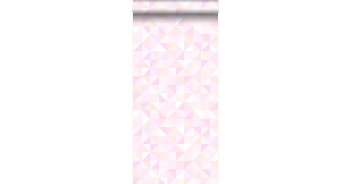 Origin behang driehoekjes pastel roze. pastel perzikoranje en licht gl