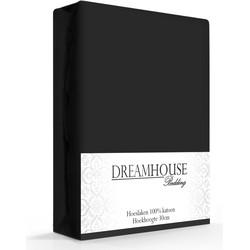 Dreamhouse Hoeslaken Katoen Zwart -180 x 220 cm