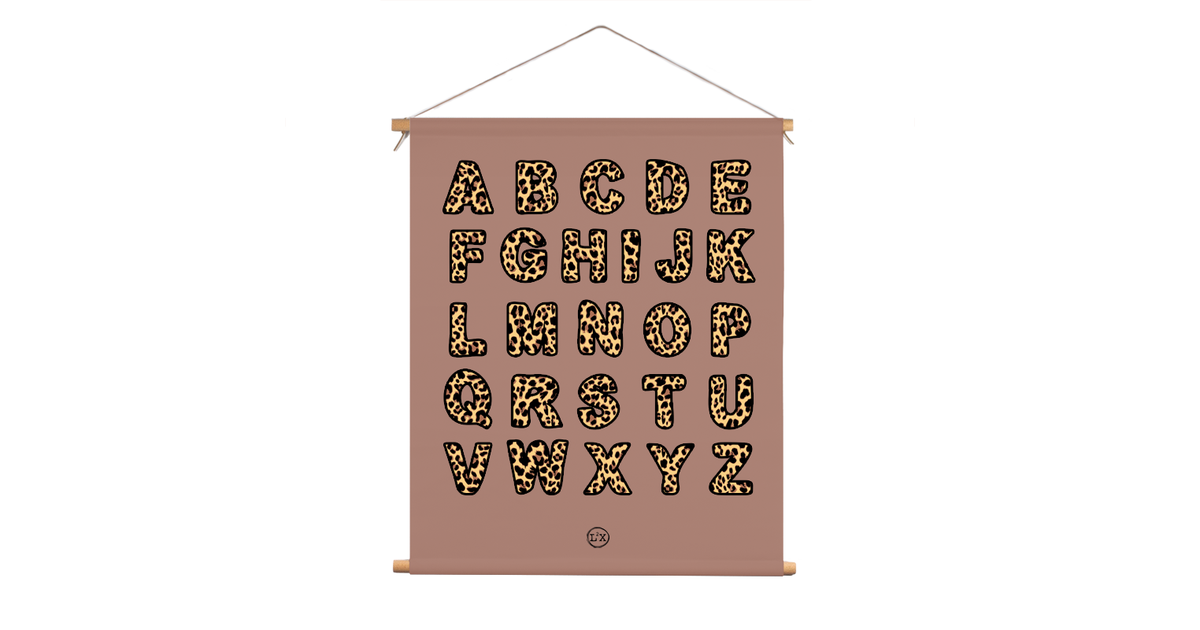Textielposter kids leopard abc