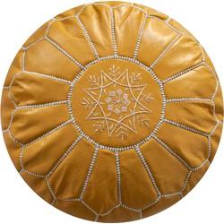 Leren Poef -geel - Handgemaakt - Gevuld geleverd - Poufs&Pillows