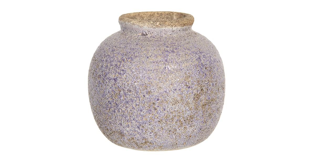 Clayre & Eef Vaas - Ø 8*8 cm - paars - keramiek - rond -  - 6CE1218