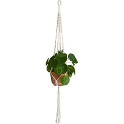 QUVIO Plantenhanger gevlochten touw met spiralen - Wit