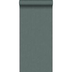 ESTAhome behang effen denim jeans structuur vergrijsd groen