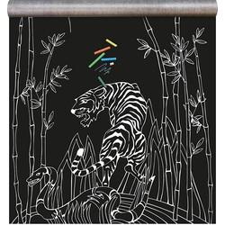 Groovy Magnets Jungle Krijtbord Magneetbehang Vinyl Wit 265 x 100 cm - Aap