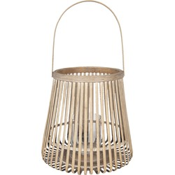 Clayre & Eef - windlicht Ø 35*60 cm - bruin - bamboe - rond - 5RO0092